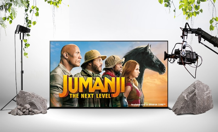 Jumanji The Next level promotional poster on a BRAVIA screen