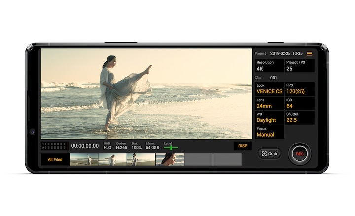 Image showing the Xperia 5 II UI for Cinematography Pro showing a woman dancing in the sea
