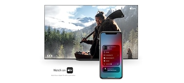 Phone connected to TV with Apple AirPlay