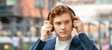 WH-1000XM4 headphones on the street