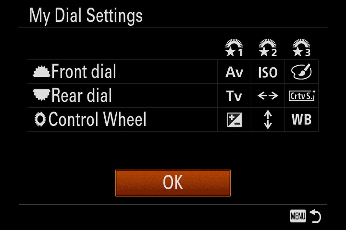 sony alpha 9 my dial menu