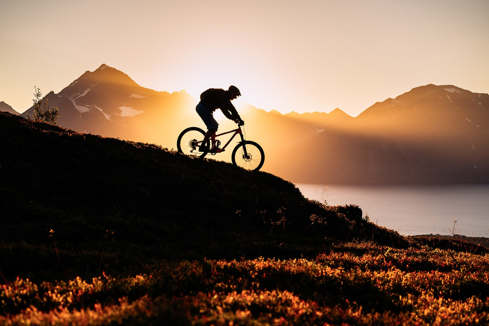 jaakko posti sony alpha 7RII a cyclist rides slowly down a steep hill as the sun sets behind him
