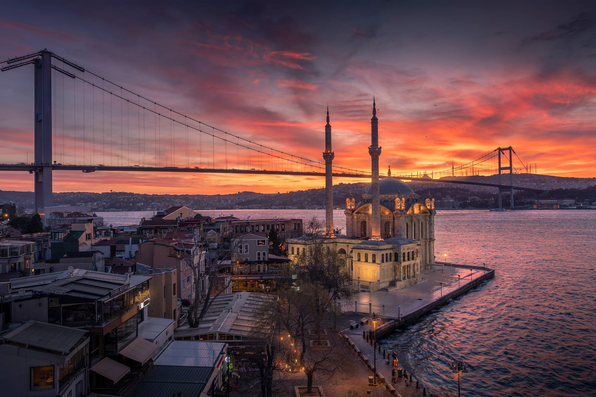 ilhan eroglu sony A6600 sunset over the bosphorous in istanbul with the bridge spanning the frame