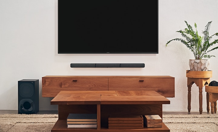 The HT-S40R in a living room setting under a BRAVIA TV