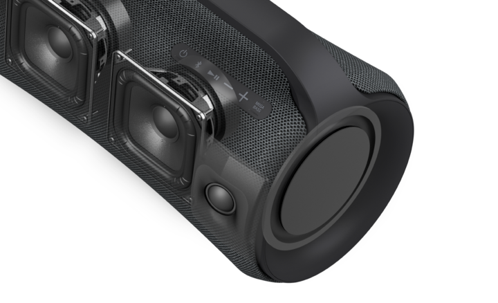 Image of the XG500 speaker in close up, with the front cut away to reveal the internal speaker units.