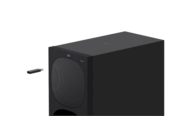 Image of the subwoofer showing the USB connection