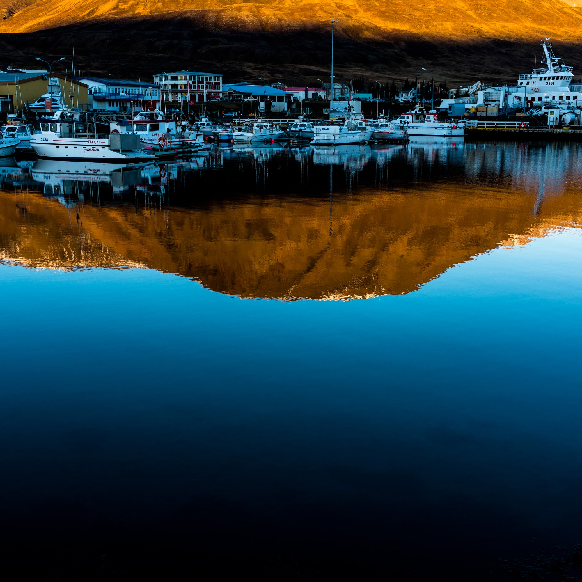 pall stefansson sony RX1RII icelandic harbour reflection of boats