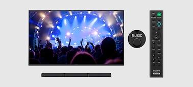 TV, soundbar and remote showing Music Mode