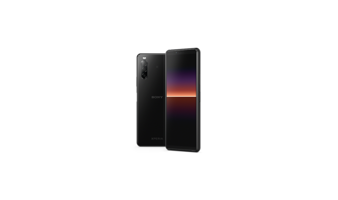 Xperia 10 II in black, front and back