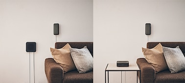 Split image showing the receiver wall-mounted and placed on a desk by a sofa.