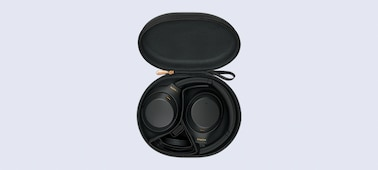 WH-1000XM4 headphones in a carry case with cable
