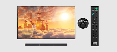TV, soundbar and remote showing Cinema Mode