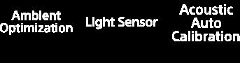 Ambient Optimization, Light Sensor and Acoustic Auto Calibration logos