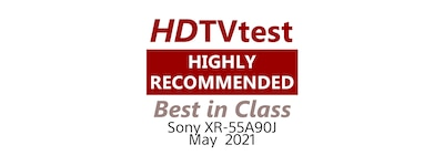 HDTVtest Highly Recommended Best in Class logo for BRAVIA 55A90J