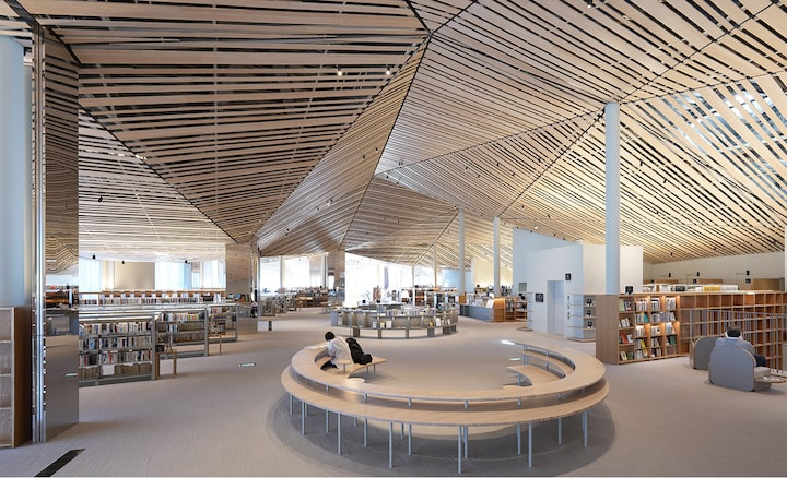 Image of the interior space of a large library with an elaborate design using many straight wood planks on the ceiling, with resolution to every corner of the screen