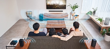 Family watching TV and the HT-S40R in a living room