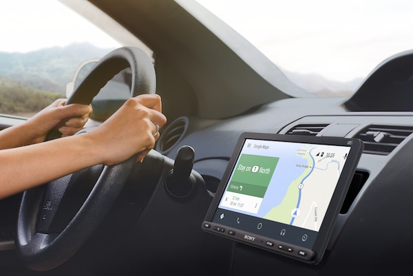 XAV-AX8050D displaying directions with Android Auto